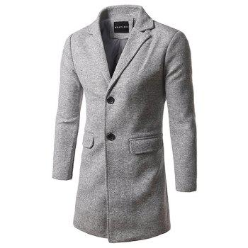 Single Breasted Lapel Tweed Wool Blend Coat - LIGHT GRAY LIGHT GRAY