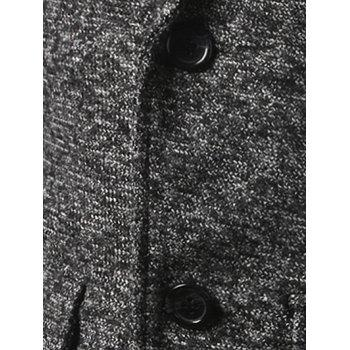 Single Breasted Lapel Tweed Wool Blend Coat - LIGHT GRAY 5XL