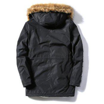 Letter Patch Zipper Pocket Fur Hooded Coat - BLACK M