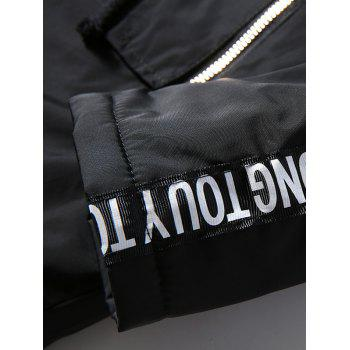 Letter Patch Zipper Pocket Fur Hooded Coat - BLACK BLACK
