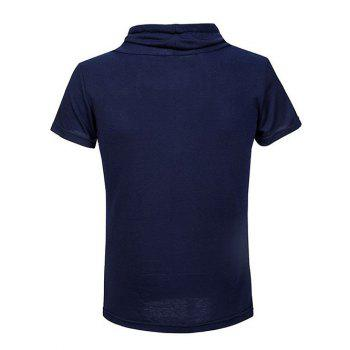Slim Fit Short Sleeve Cowl Neck Tee - PURPLISH BLUE M