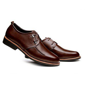 Stitching PU Leather Formal Shoes - BROWN 40
