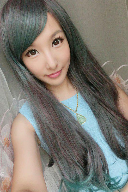 Mixed Color Long Side Bang Slightly Curled Synthetic Cosplay Lolita Wig