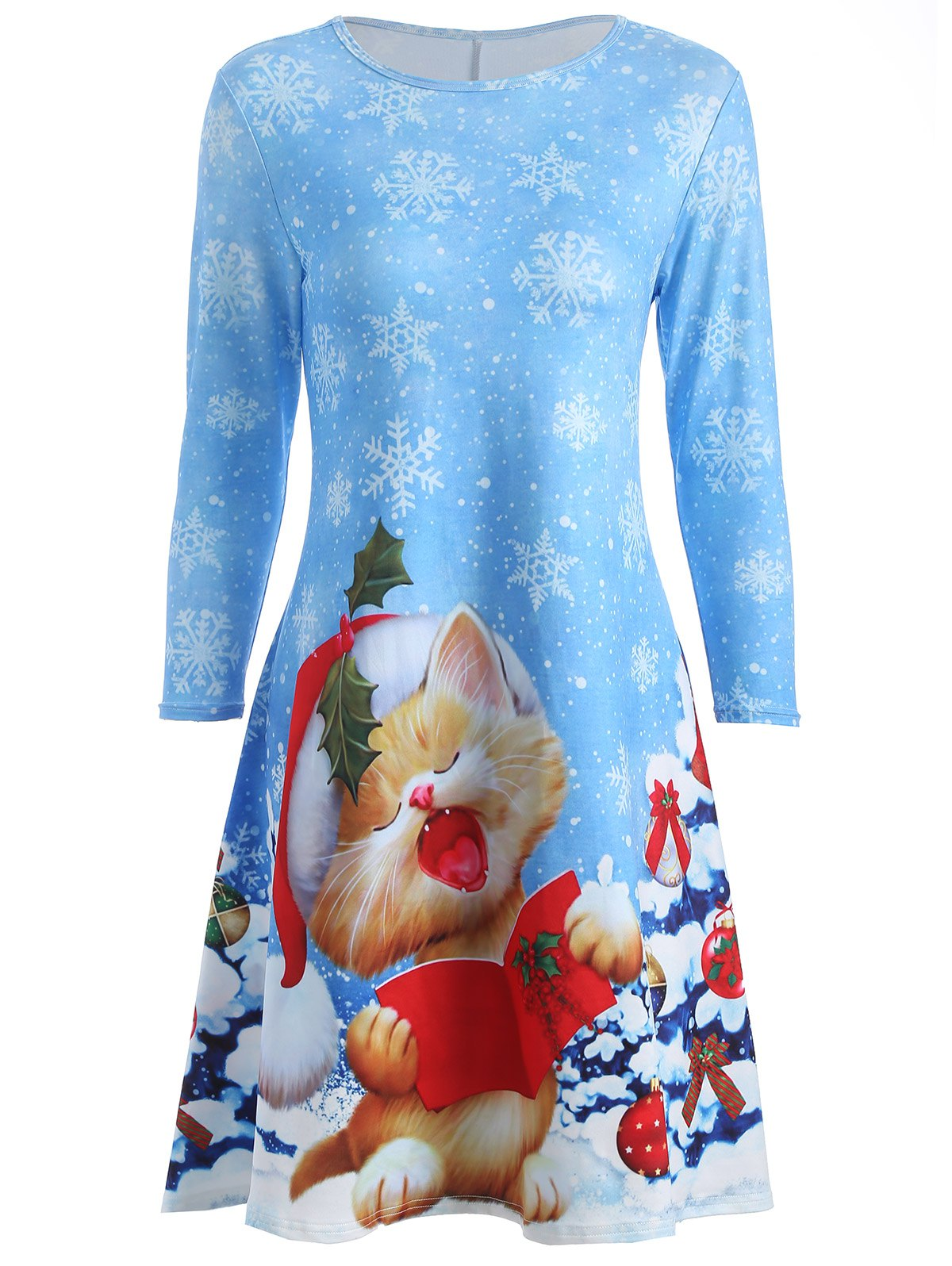 Kitten Snowflake Print Swing Dress stylish long sleeve letter print tassel design sweatshirt pants twinset for boys