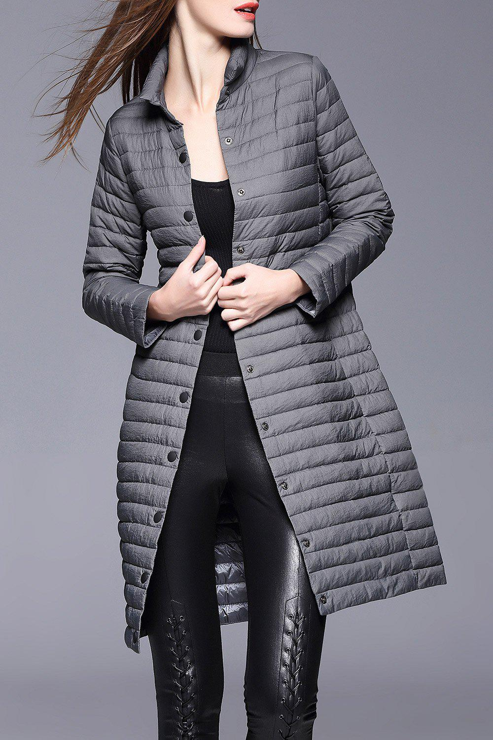 Buttoned Padded Coat - GRAY XL