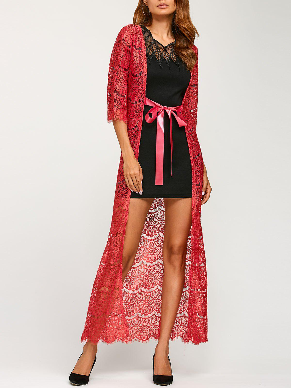 Ribbon Maxi Lace Long Cardigan - RED ONE SIZE