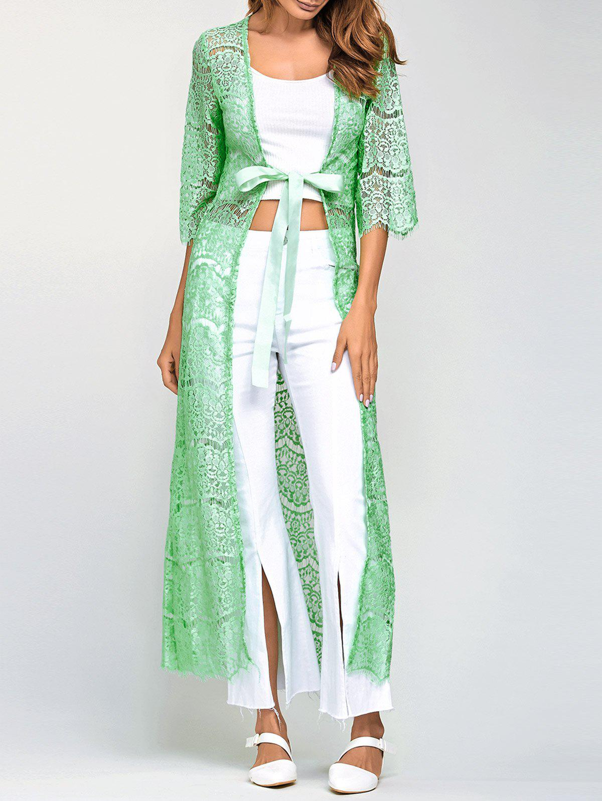 2018 Ribbon Maxi Lace Long Cardigan LIGHT GREEN ONE SIZE In ...