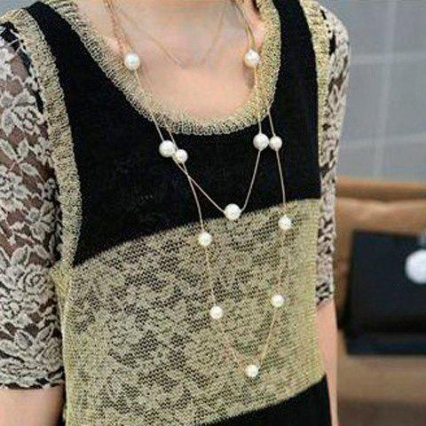 Faux Pearl Embellished Multi-Layered Alloy Sweater Chain Necklace For Women - COLOR ASSORTED
