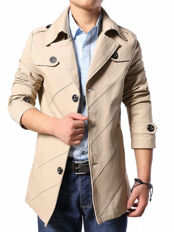 Multi Button Line Pattern Epaulet Design Coat - KHAKI L