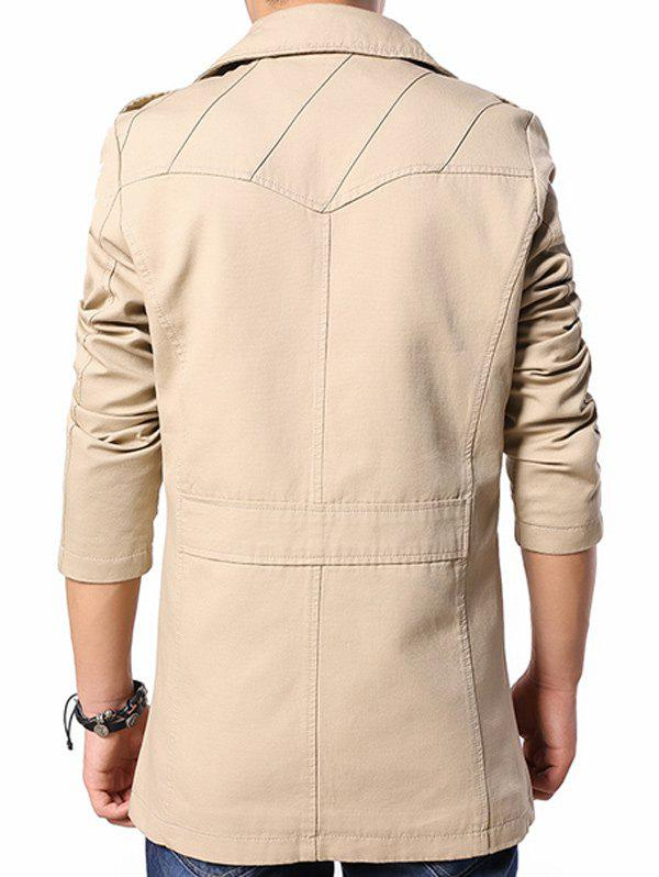 Multi Button Line Pattern Epaulet Design Coat - KHAKI M