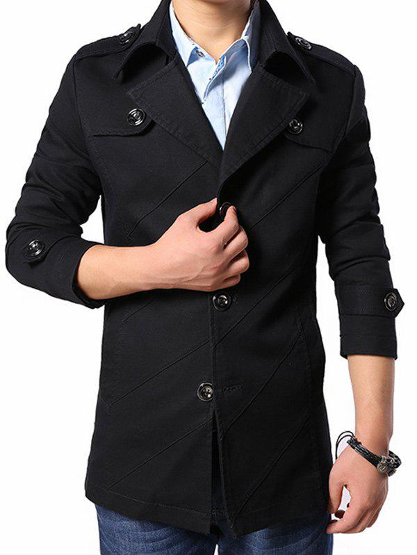 Multi Button Line Pattern Epaulet Design Coat - BLACK M
