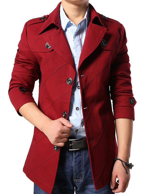 Multi Button Line Pattern Epaulet Design Coat - RED L