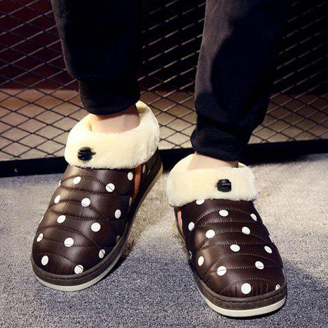 Polka Dot Fuzzy House Slippers - BROWN SIZE(41-42)