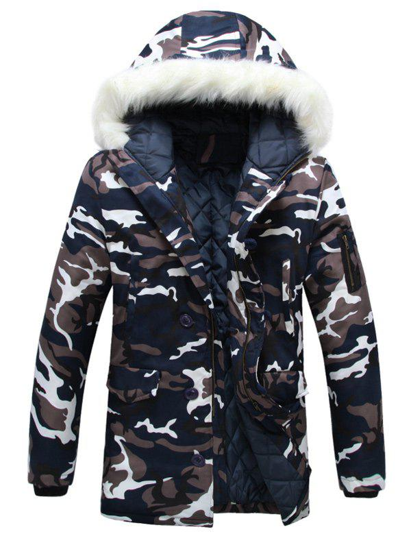 Zipper Up Camouflage Fur Hooded Padded Coat - CAMOUFLAGE COLOR M