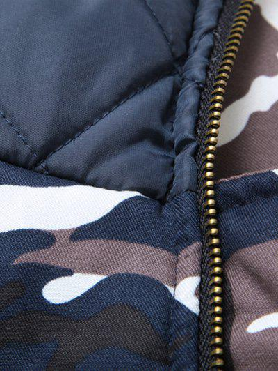 Zipper Up Camouflage Fur Hooded Padded Coat - CAMOUFLAGE COLOR L