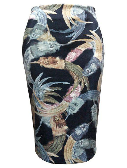Feather Painting Tube Skirt - BLACK M