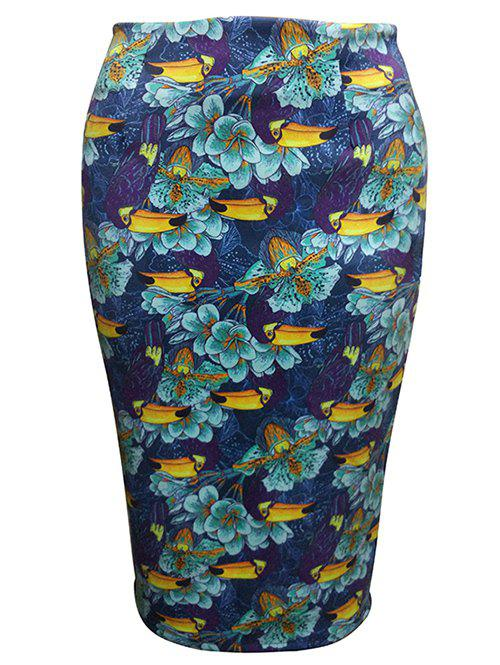 Flower Painting Tube SkirtWomen<br><br><br>Size: S<br>Color: DEEP BLUE