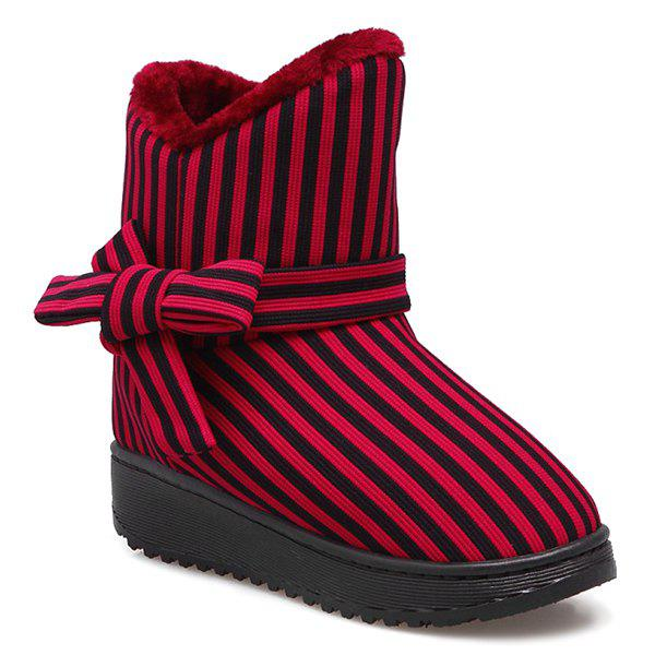 Bow Striped Platform Snow Boots - RED SIZE(35-36)