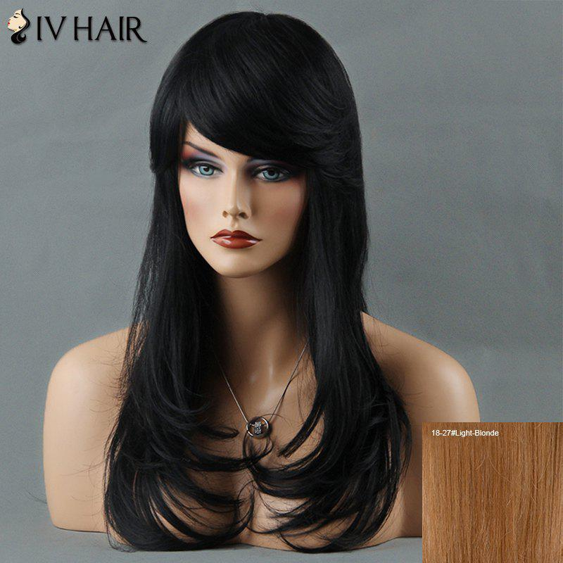 Layered Tail Adduction Long Oblique Bang Siv Human Hair Wig - LIGHT BLONDE /