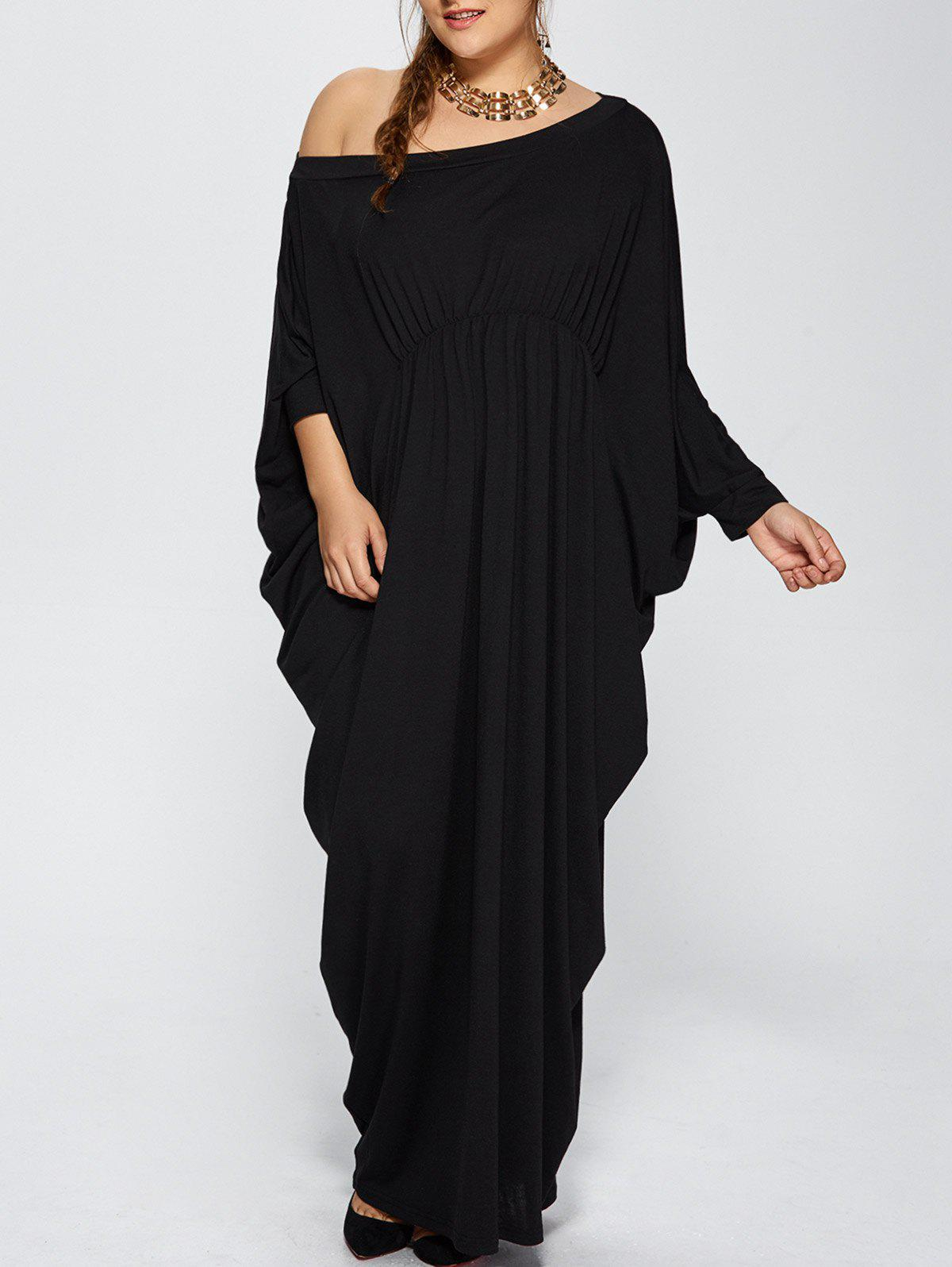 Plus size one sleeve maxi dress