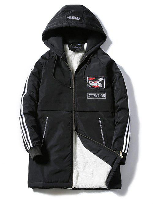 Patch Design Striped Zipper Up Hooded Padded Coat - BLACK 2XL