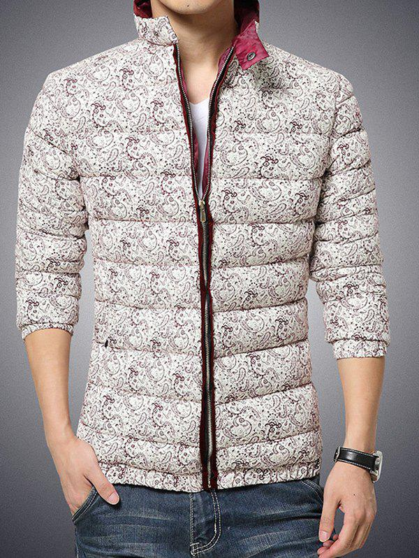 Stand Collar Zip Up Paisley Printed Quilted Jacket - BURGUNDY L