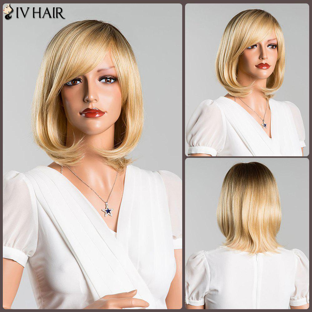 Short Straight Side Bang Mixed Color Siv Human Hair Wig