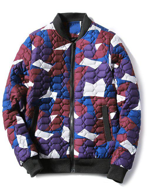 Stand Collar Zip Up Geometric Camo Padded Jacket - RED L