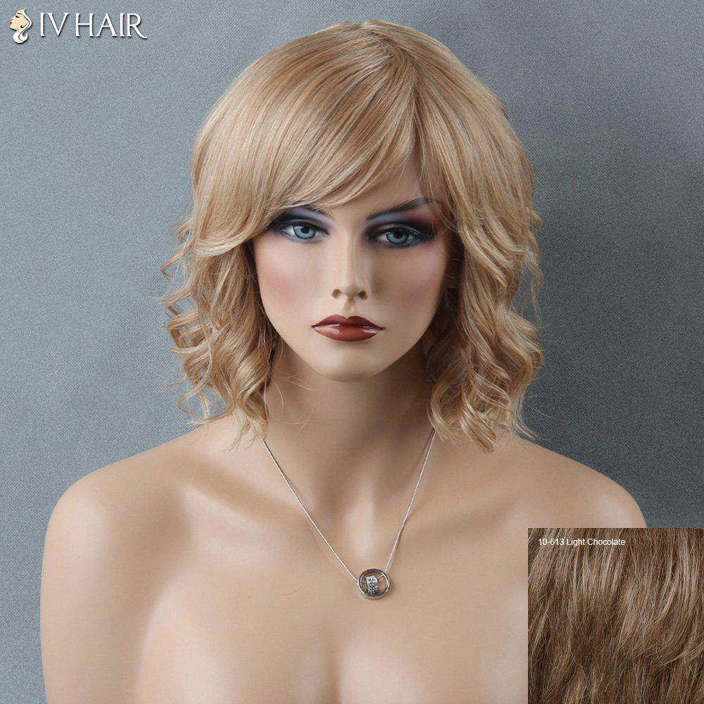 Siv Short Curly Side Bang Human Hair Wig - LIGHT CHOCOLATE