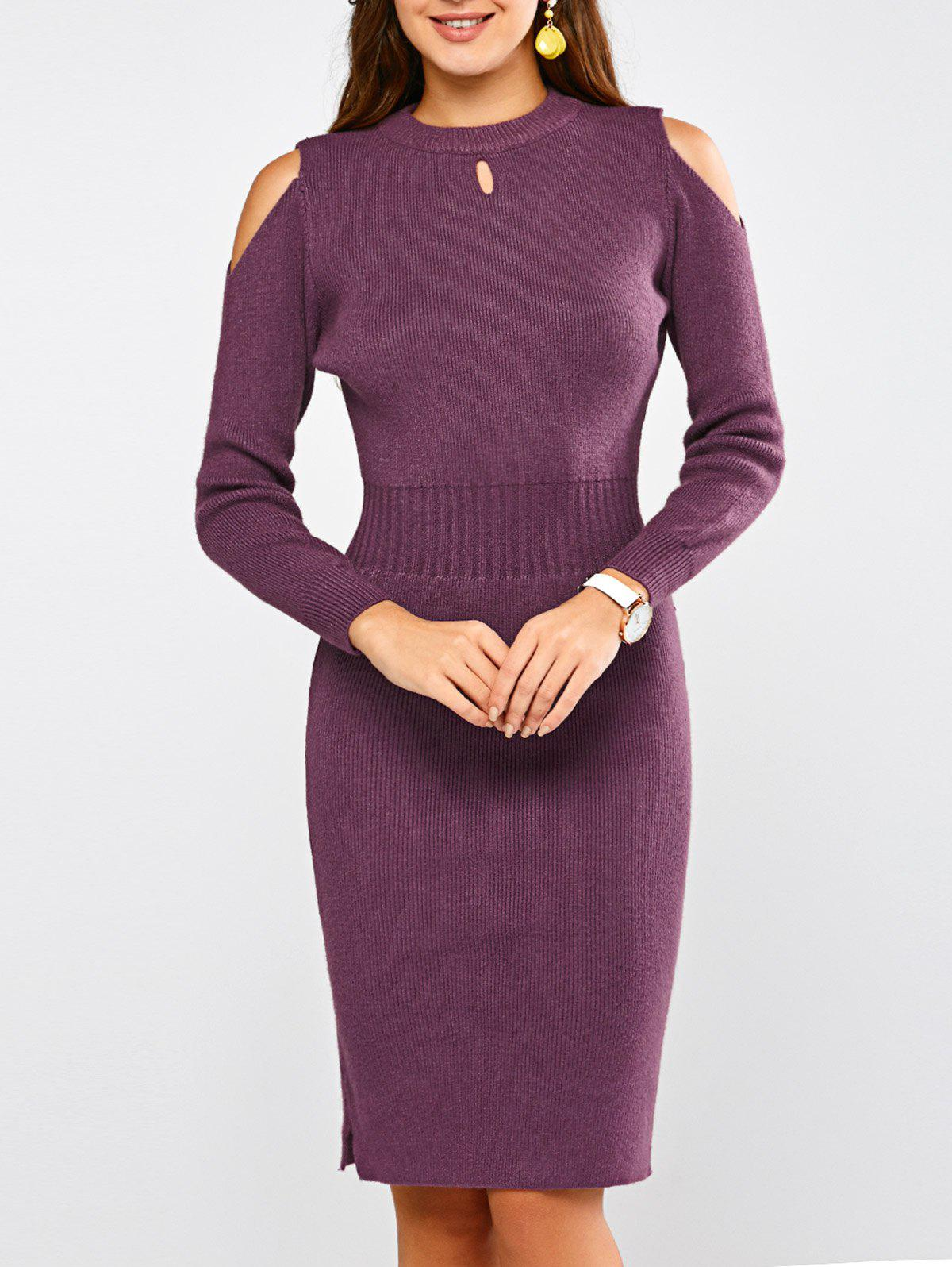 Sheath Cold Shoulder Sweater Dress - PURPLE ONE SIZE