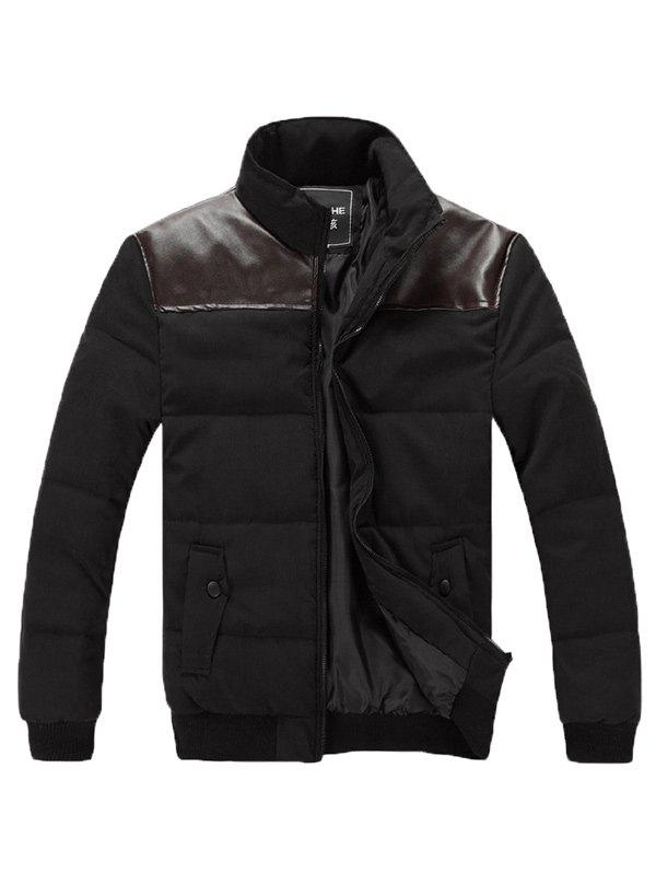Stand Collar Zip Up PU Spliced Padded Jacket - BLACK 3XL