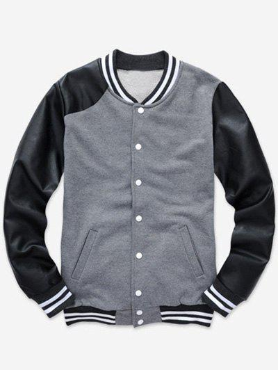 Stand Collar Color Block PU Leather Splicing Baseball Jacket