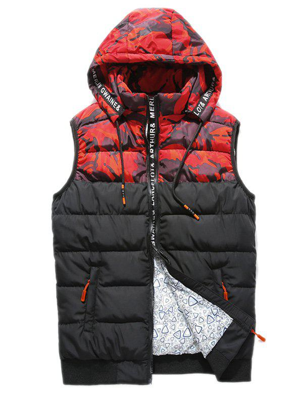 Zip Up Letter Camouflage Hooded Padded Waistcoat stylish hooded sleeveless zip up padded waistcoat for women