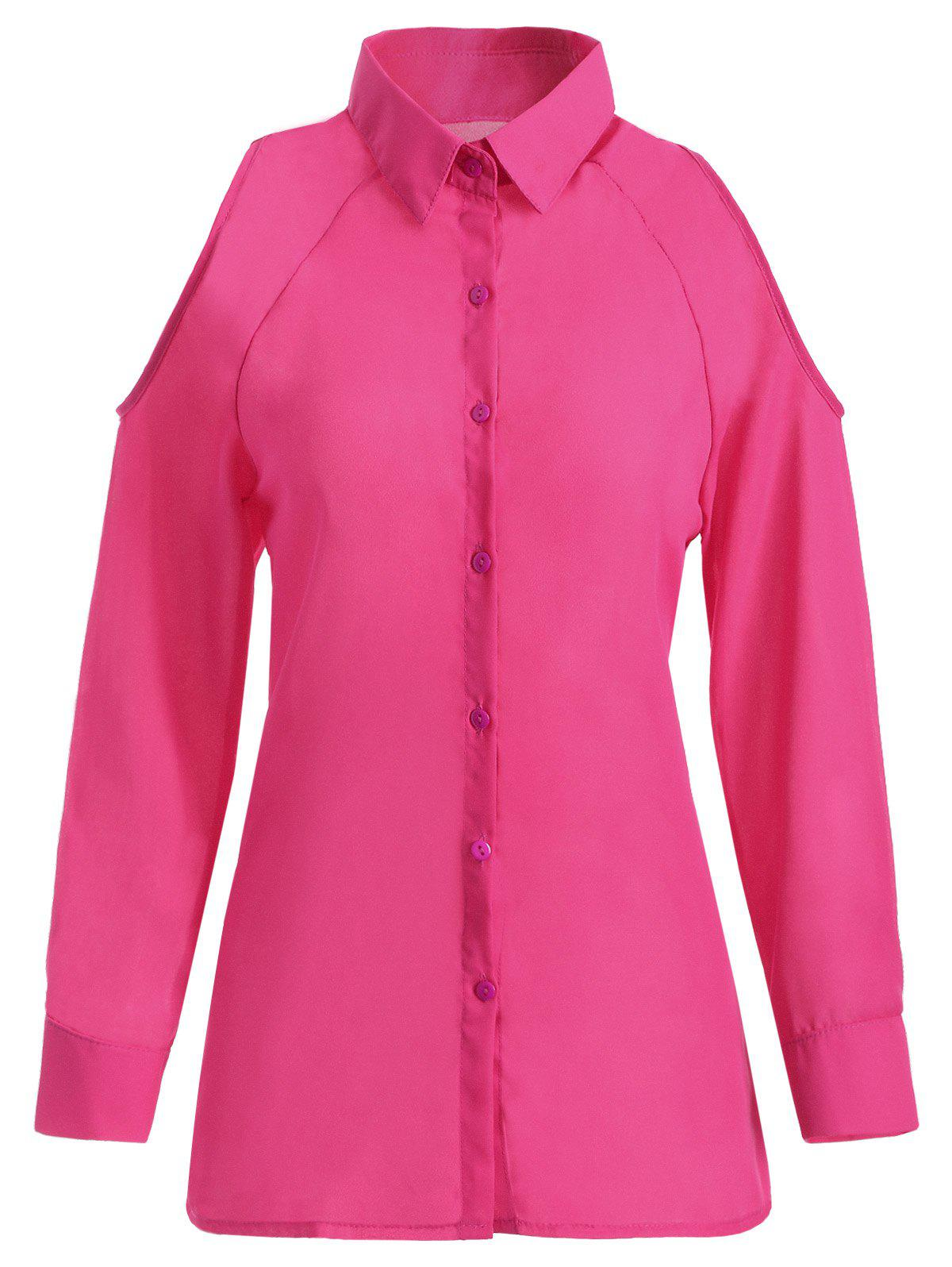 Button Up Cut Out Chiffon ShirtWomen<br><br><br>Size: L<br>Color: ROSE RED