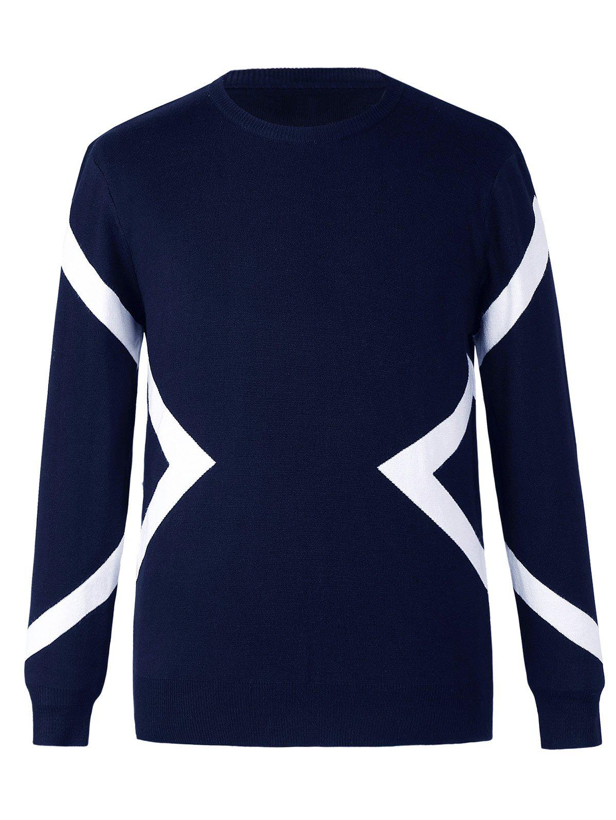 Fashionable Line Design Round Neck Long Sleeves Sweater For Men - PURPLISH BLUE 4XL