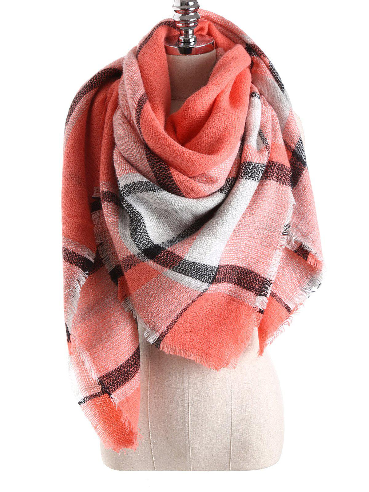 Warm Tartan Plaid Blanket Shawl Scarf - ORANGEPINK