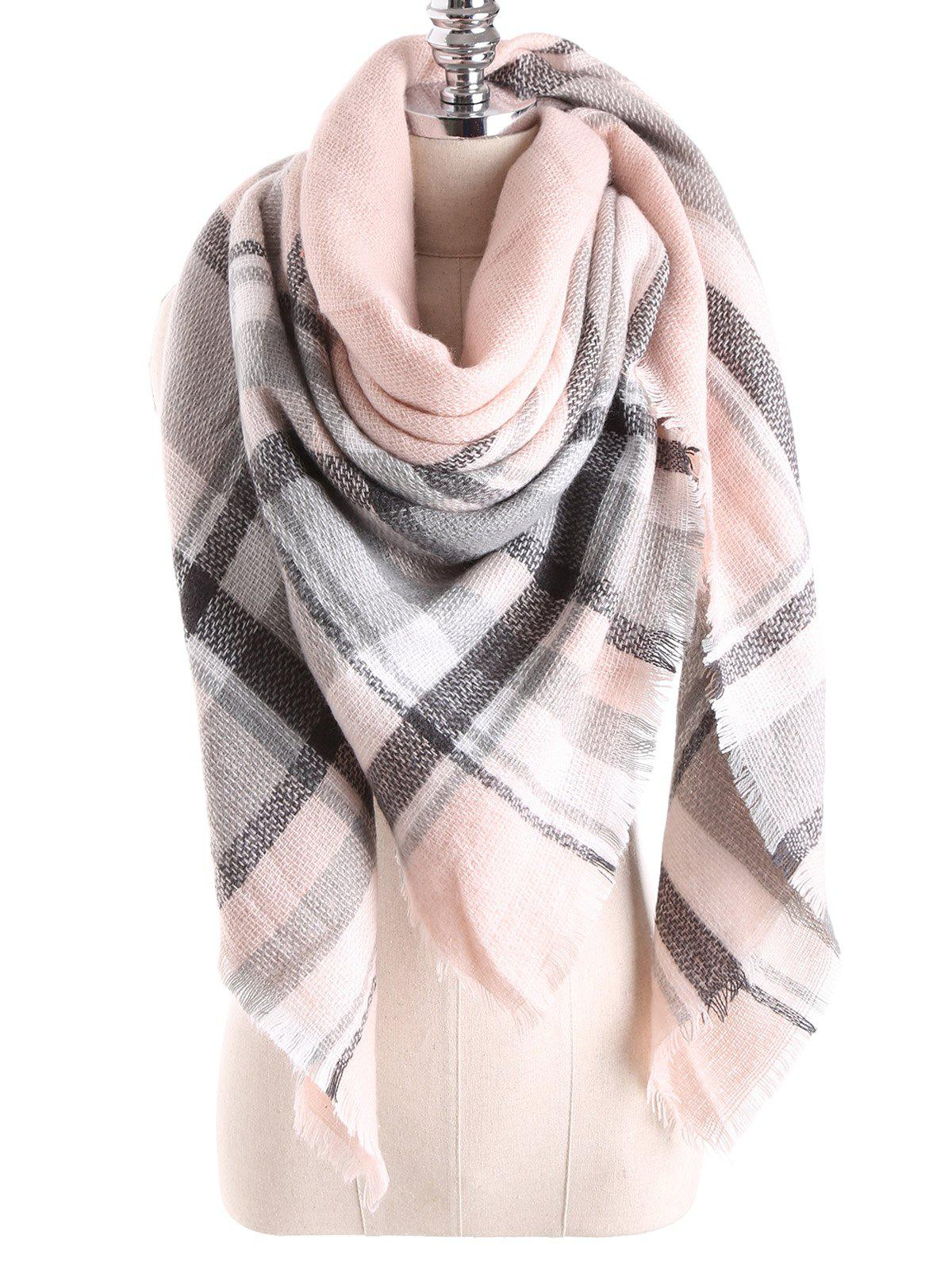 Warm Tartan Plaid Blanket Shawl Scarf - PEARL LIGHT PINK