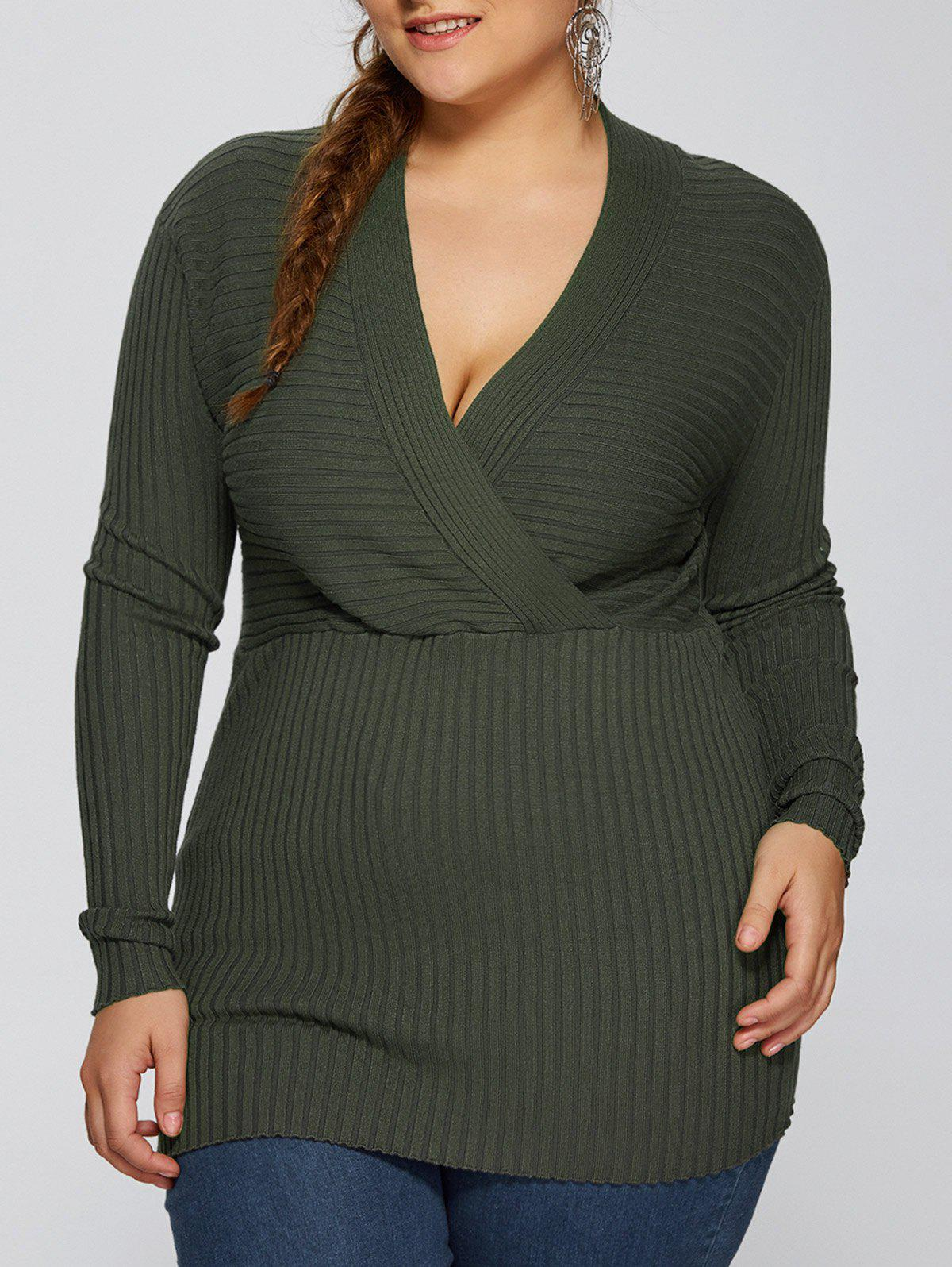 Plus Size V Neck Pullover Sweater - ARMY GREEN 2XL