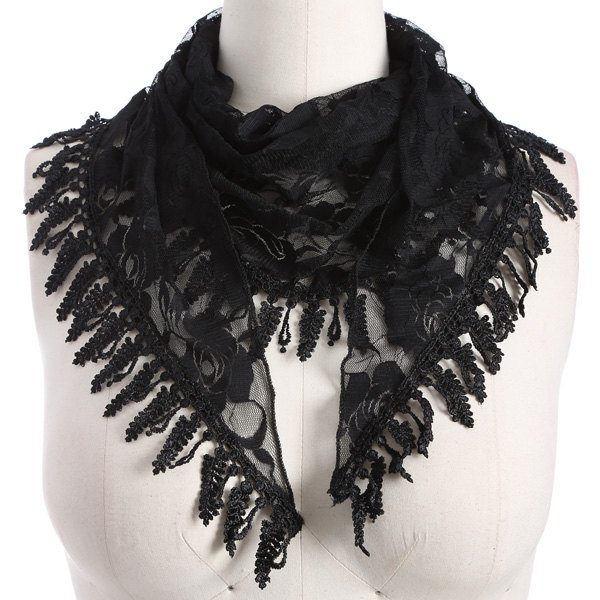 Leaf Tassel Lace Triangle Scarf - BLACK