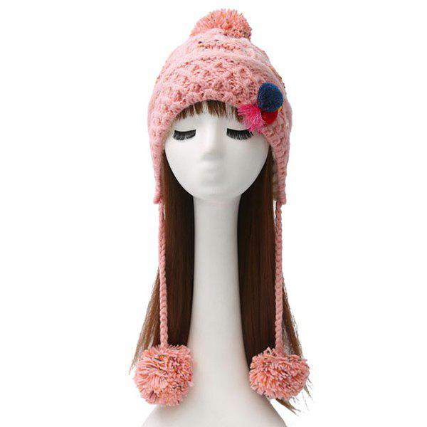 Warm Cirss Cross Knitted Colorful Ball Tassel Beanie - LIGHT PINK