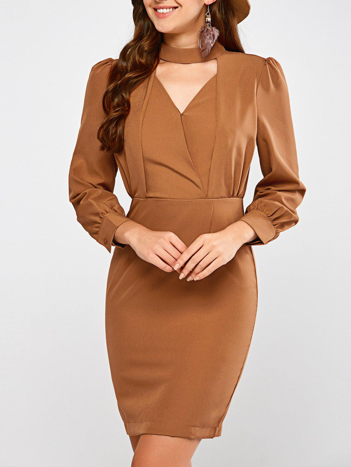 Choker Neck Long Sleeve Tight Sheath Dress - LIGHT BROWN L