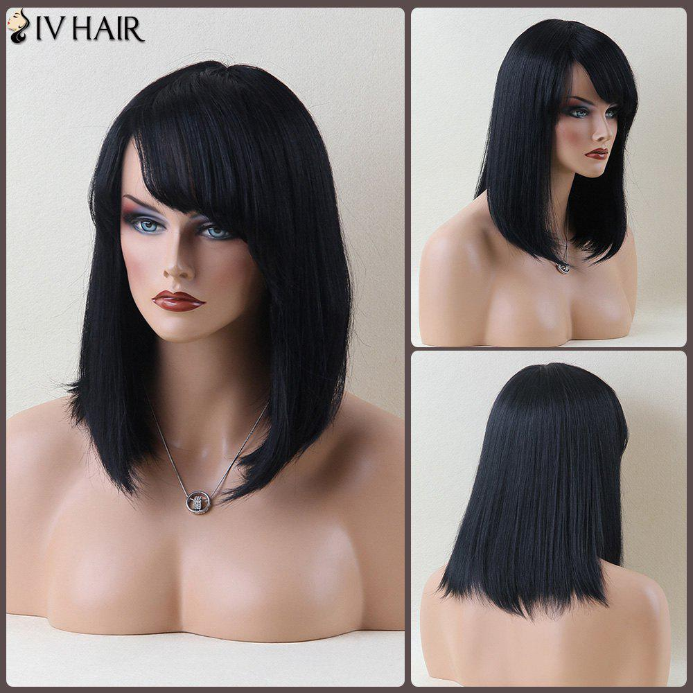 Stunning Medium Straight Oblique Bang Siv Human Hair WigHair<br><br><br>Color: JET BLACK 01#
