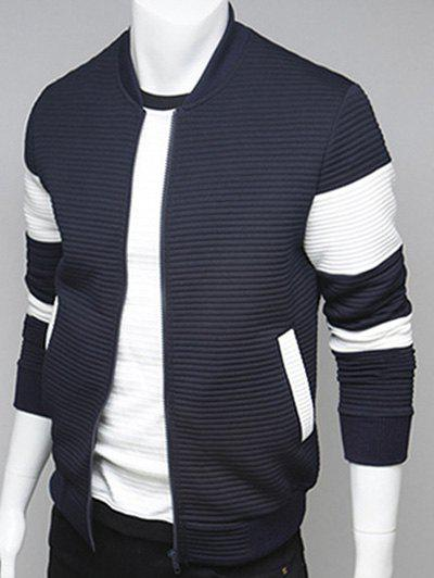 Stand Collar Paneled Ribbed Zip Up Jacket - CADETBLUE 2XL