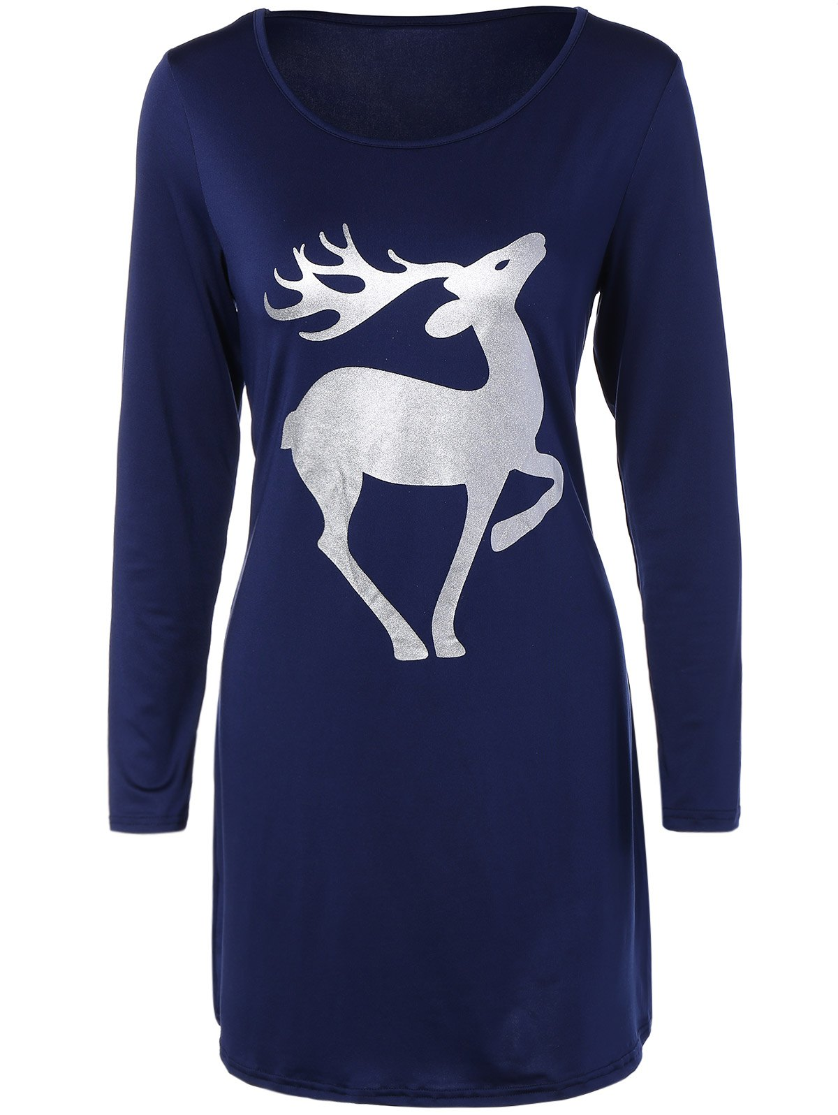 Christmas Deer Patched Fitted T-Shirt Dress - CADETBLUE S