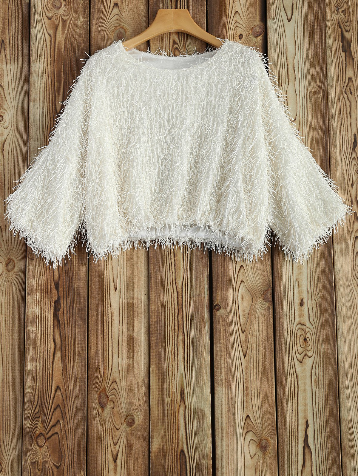Novelty Faux Mohair Strip Crop Sweater - OFF WHITE ONE SIZE