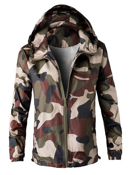 Zipper Up Hooded Camo Lightweight Jacket - ARMY GREEN 2XL