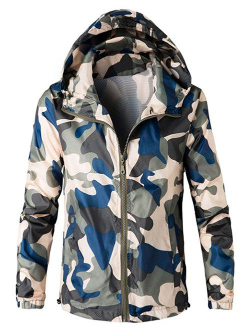 Zipper Up Hooded Camo Lightweight Jacket