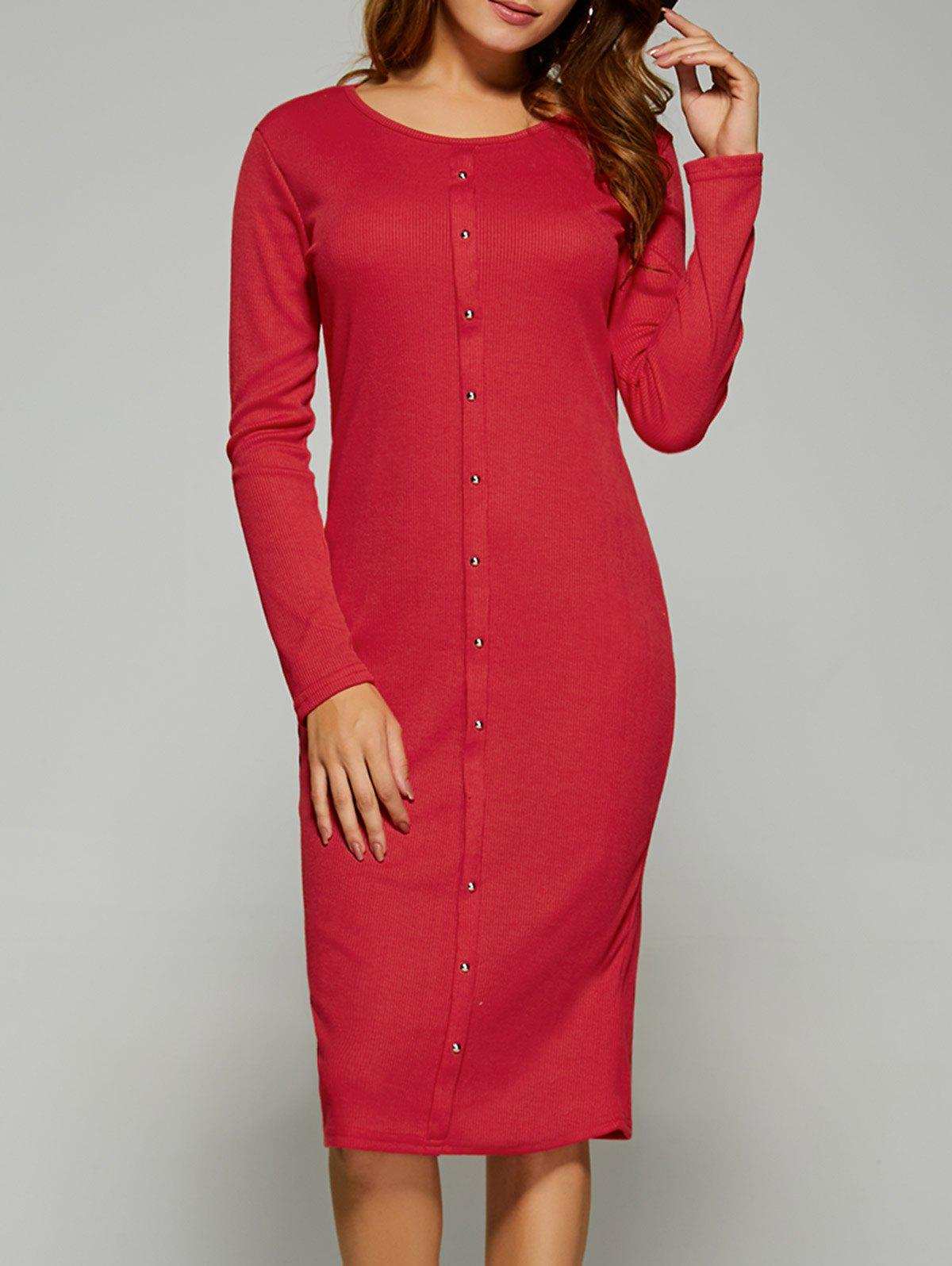 Long Sleeve Button Up Knit Sheath Dress - RED L