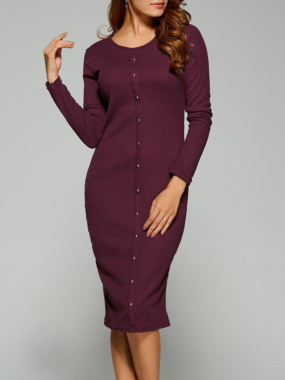 Long Sleeve Button Up Knit Sheath Dress - BORDEAUX XL