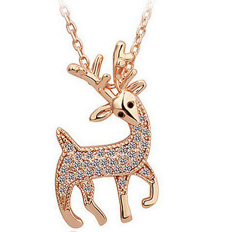 Rhinestone Fawn Shaped Pendant NecklaceJewelry<br><br><br>Color: ROSE GOLD